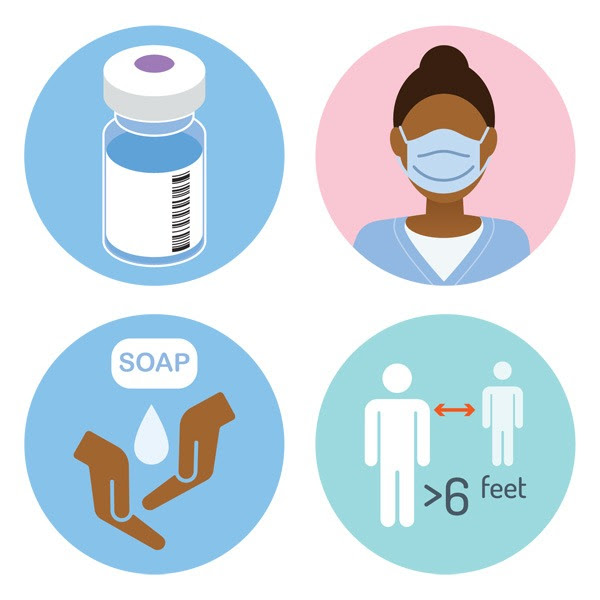 illustrations of vaccine, person wearing a mask, hand washing, and social distancing