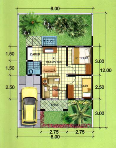 12 Desain Denah Rumah Minimalis Type 36