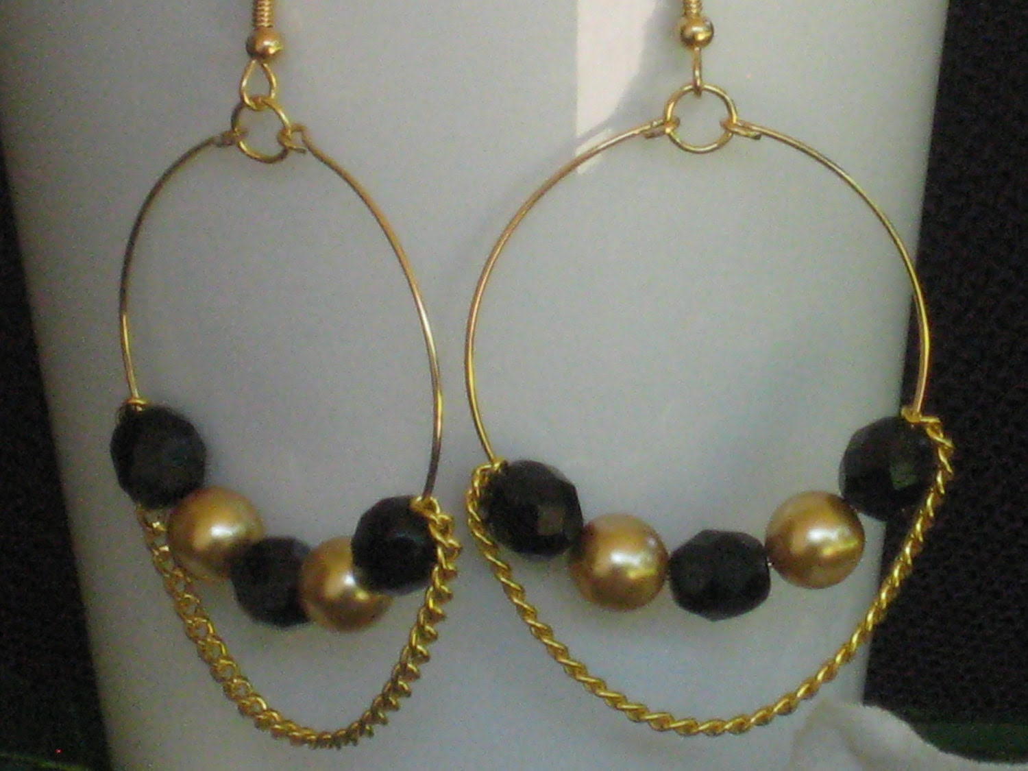 SALE: Black and Gold Beaded Chain Hoop Earrings