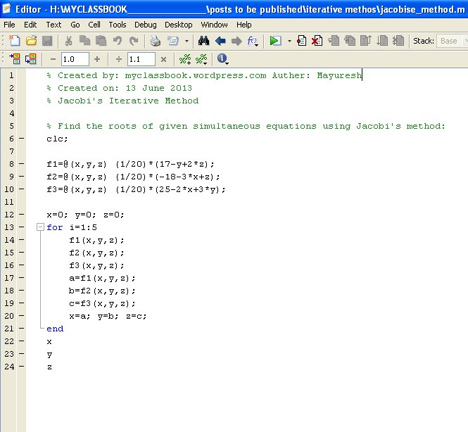 MATLAB code for Jacobi's iterative method