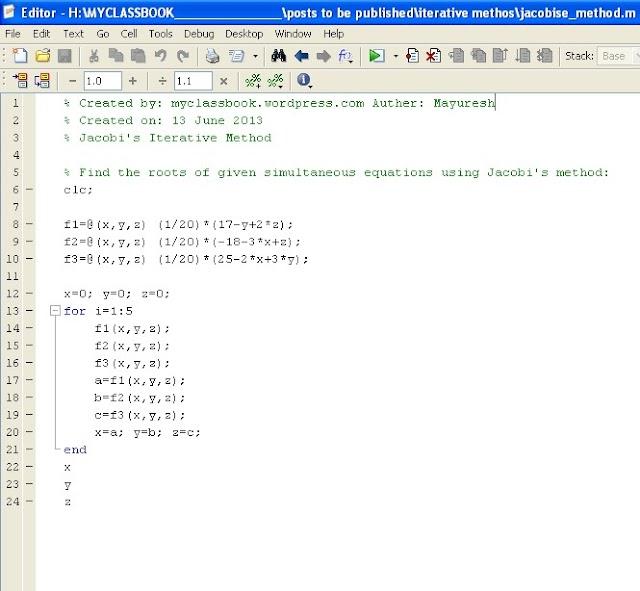 Jacobi's Iteration Method with MATLAB Program