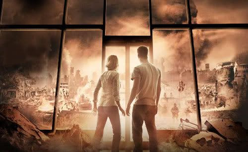 Artwork depicting Amanda Dumbfries (Laurie Holden) and David Drayton (Thomas Jane) staring out at the U.S. military...who has something to do with The Mist...