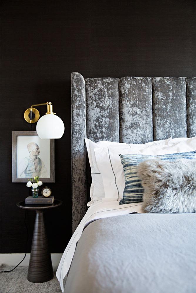 velvet headboad layered pillows