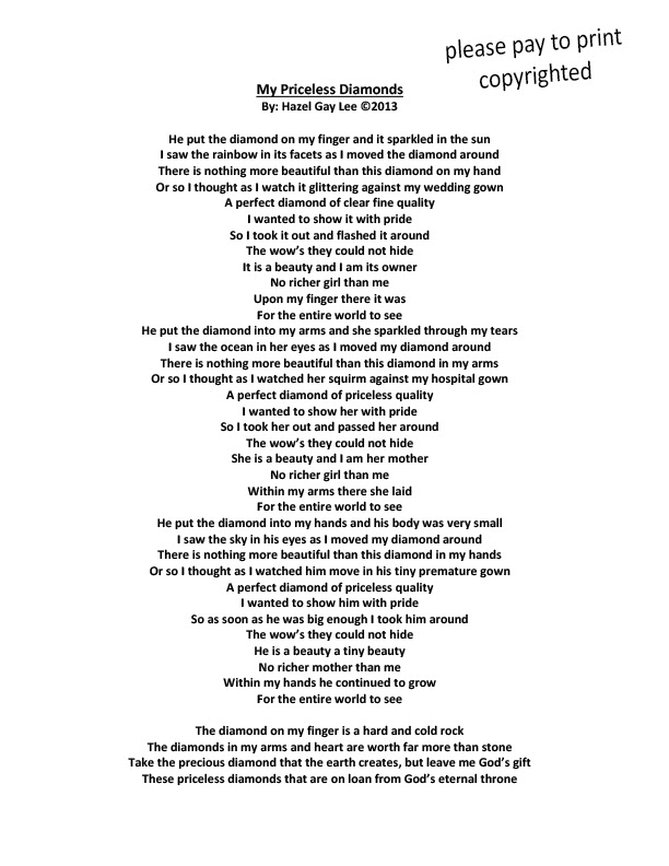 hazelgaylee | My Priceless Diamonds – Poem About Wedding ...