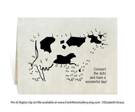 Dot to dot cow black printable cards for moving, birthday