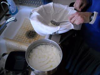 Goat Milk Cheese Spooning to Handkerchief