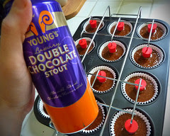 Making Double Chocolate Stout Cupcakes with Ganache filling and Bailey's Frosting
