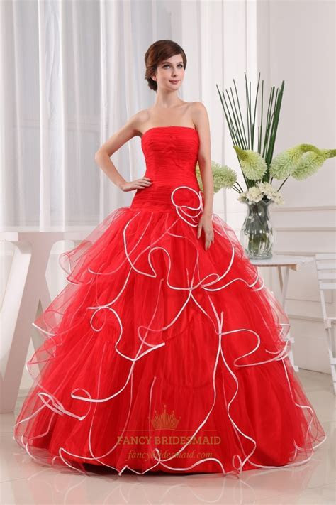 Strapless Red And White Wedding Dress, Strapless Pleated