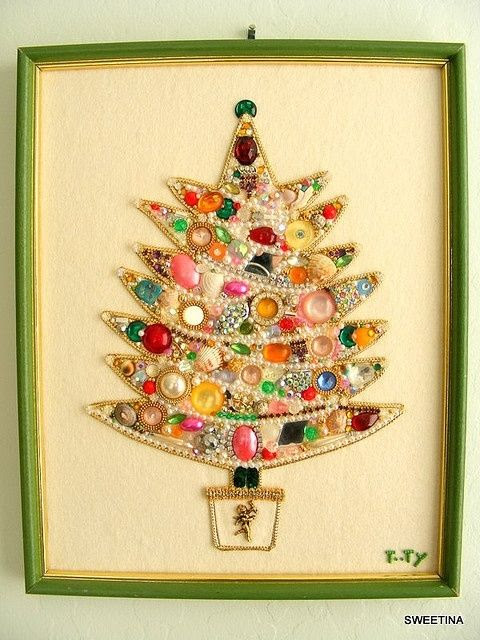 Framed Christmas Tree Made With Vintage Costume Jewelry Pictures