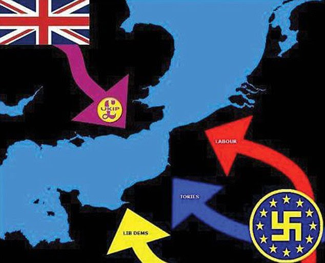 Ukip's Newport branch wasblasted for an 'abhorrent' Facebook post likening the EU to the Nazis with this Swastika graphic