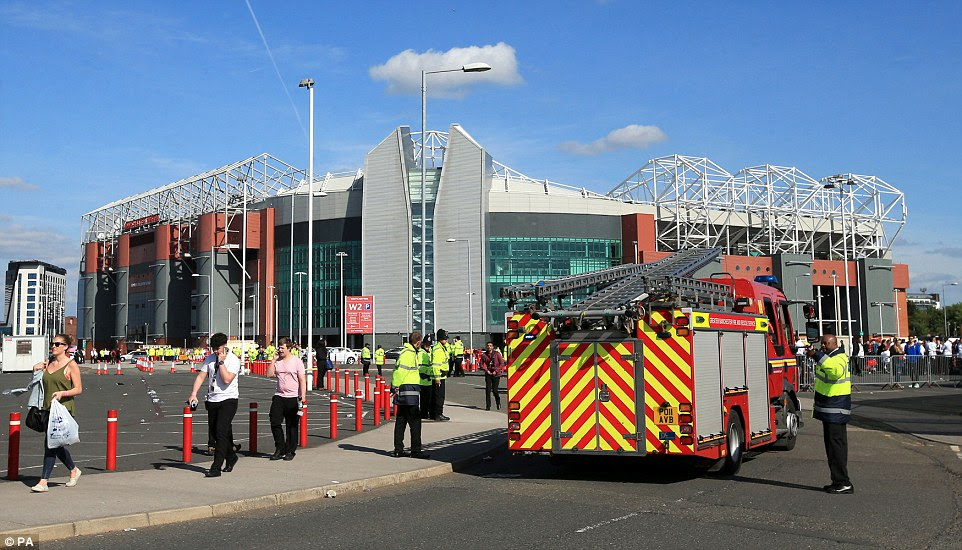 Fire engines and police officers were scrambled to Old Trafford alongside bomb disposal units after the suspect device was discovered