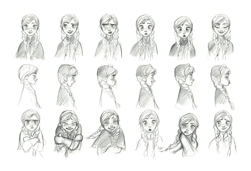 アナの表情集鉛筆画 アナと雪の女王公式の2dイラストが可愛い