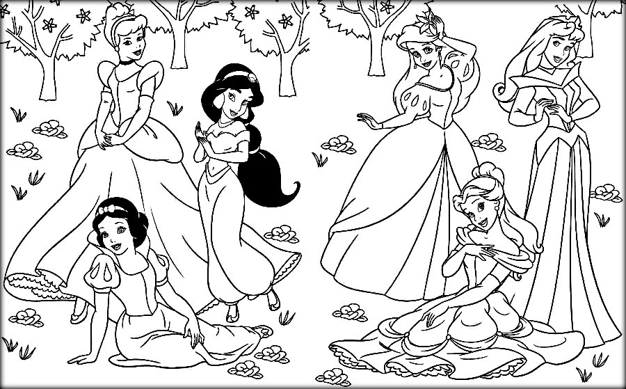 All Disney Princesses Together Coloring Pages at ...