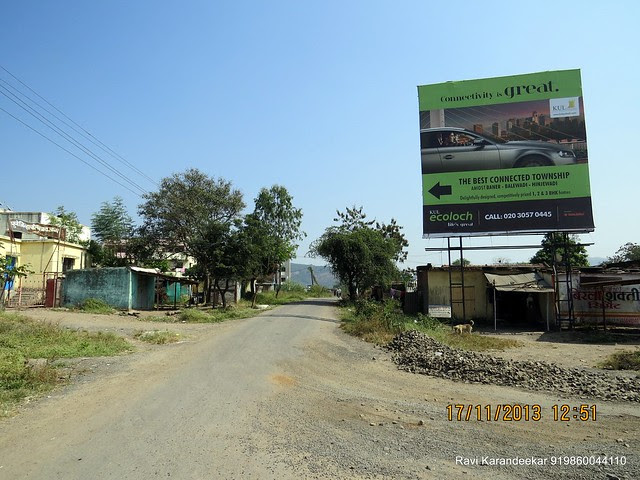"Hoarding of KUL Ecoloch on Nande Mhalunge Road - Visit Amit Rujuta Ventures' ""Gloria"" 1 BHK 1.5 BHK 2 BHK Flats at Nande near Hinjewadi on Pirangut Nande  Road Taluka Mulshi District Pune 412115"