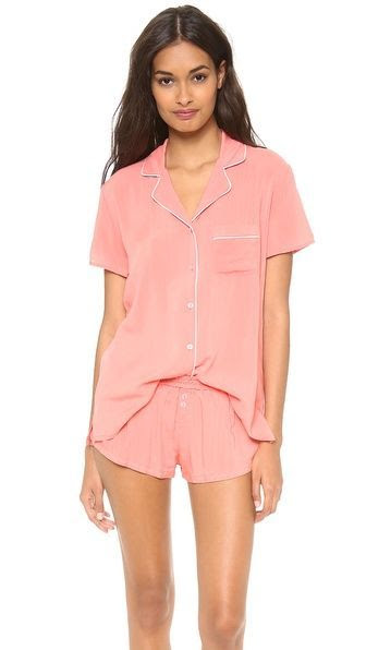 Sorbet colored silk pj's are a cute and comfy look for Spring.