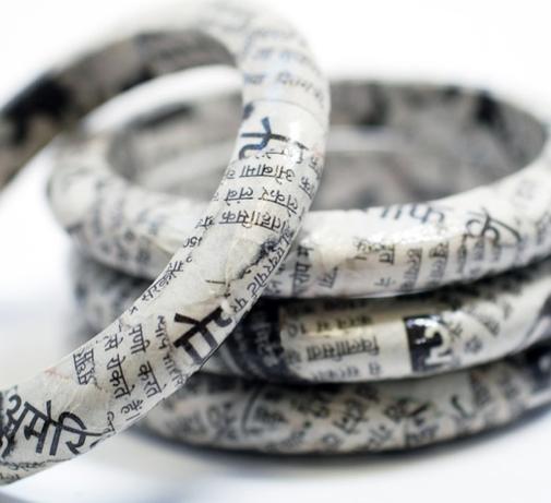 recycled newspaper bracelet