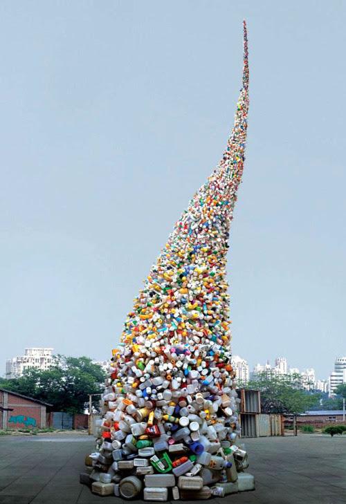 Thrown to the Wind -  36 feet of plastic trash - Wang Zhiyuan