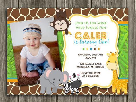 Printable Kids Jungle Birthday Photo Invitation   Boy