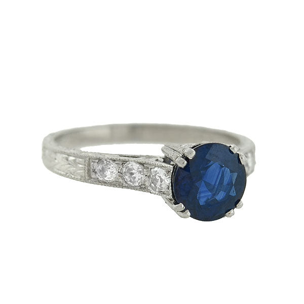 Art Deco Style Platinum Sapphire Diamond Ring 1 91ct A Brandt Son
