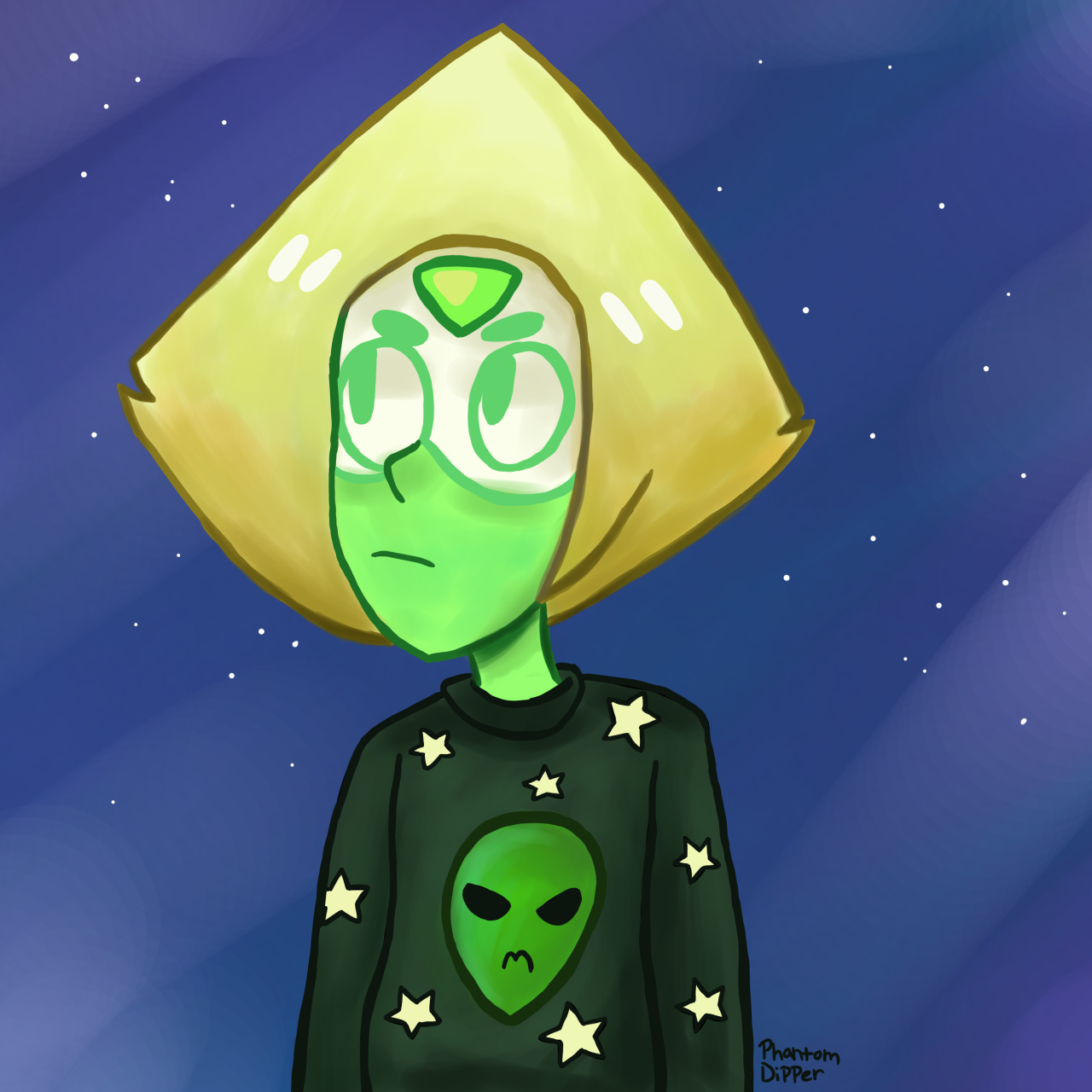 I decided to draw Peri in an alien sweater because I needed that badly, plus I haven't drawn characters other than my ocs in so long.