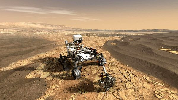 An artist's concept of NASA's Mars 2020 rover on the surface of the Red Planet.