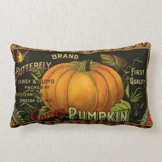 Vintage Product Label Art; Butterfly Brand Pumpkin Throw Pillows