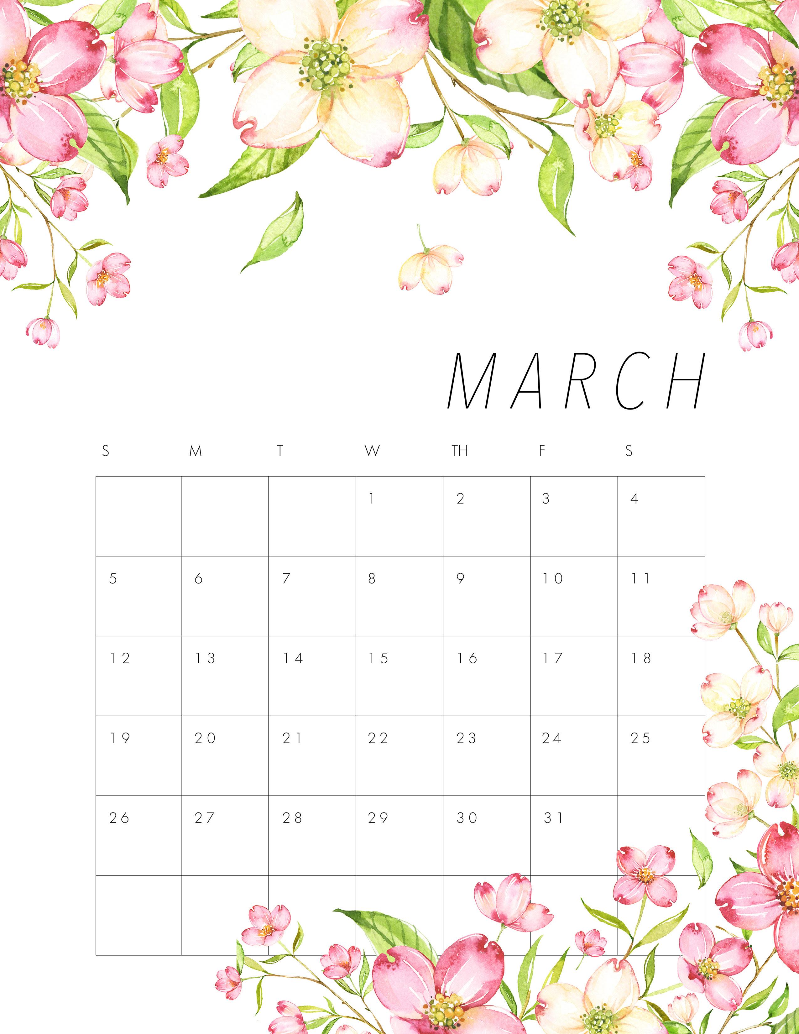 March Calendar 2017 Pink | february calendars