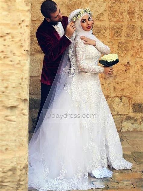 Save on Elegant White Muslim Wedding Dresses Long Sleeve