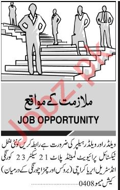 Welder Welder Helper Jobs 2019 In Karachi 2020 Job Advertisement Pakistan