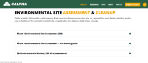 Phase 1 environmental inspections, environmental site assessment, phase 2 testing, site cleanup