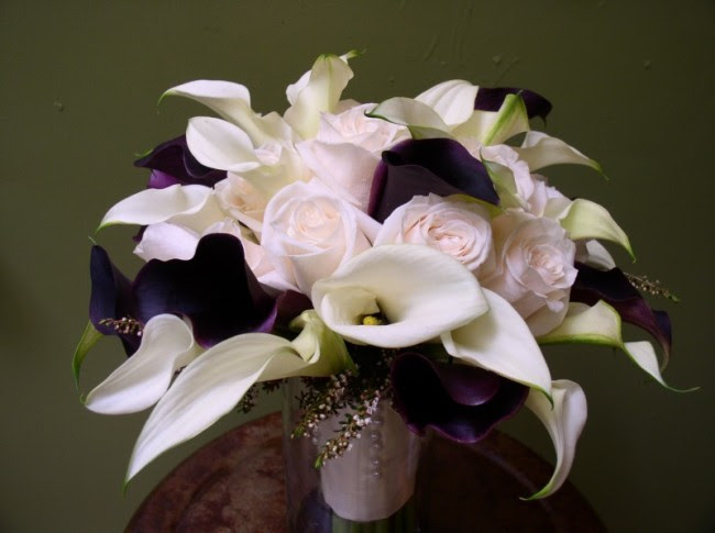 Rose Calla Lily Bridal Bouquet Share Blush roses with ivory plum calla