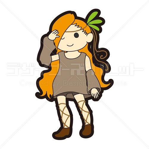 キャラクター民族衣装風の女性 イラパレロイヤリティフリーの