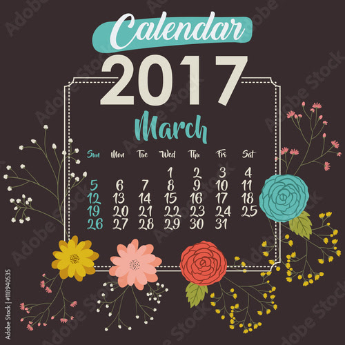 March 2017 Calendar Design – 2017 March Calendar