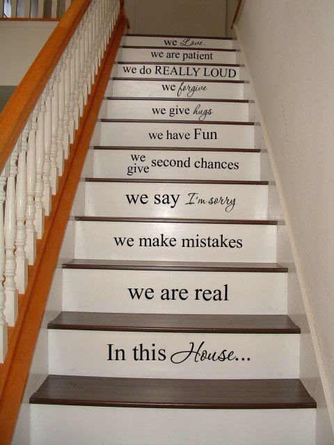 In this house STAIRS stairway Vinyl Decal Vinyl Decal Home Decor Door Wall Lettering Words Quotes. $49.95, via Etsy.
