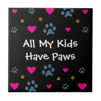 All My Kids-Children Have Paws Small Square Tile