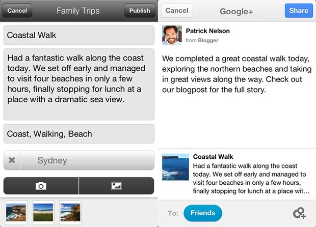 Google's Blogger app updated with iPad support, landscape composition mode, Google+ integration