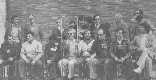 Zaguirre, en el centro, durante el 1º de mayo de 1978 en Gijón