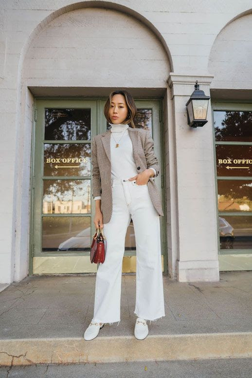 Le Fashion Blog Aimee Song Houndstooth Blazer Cream Turtleneck White Raw Hem Jeans White Loafers Via Song Of Style