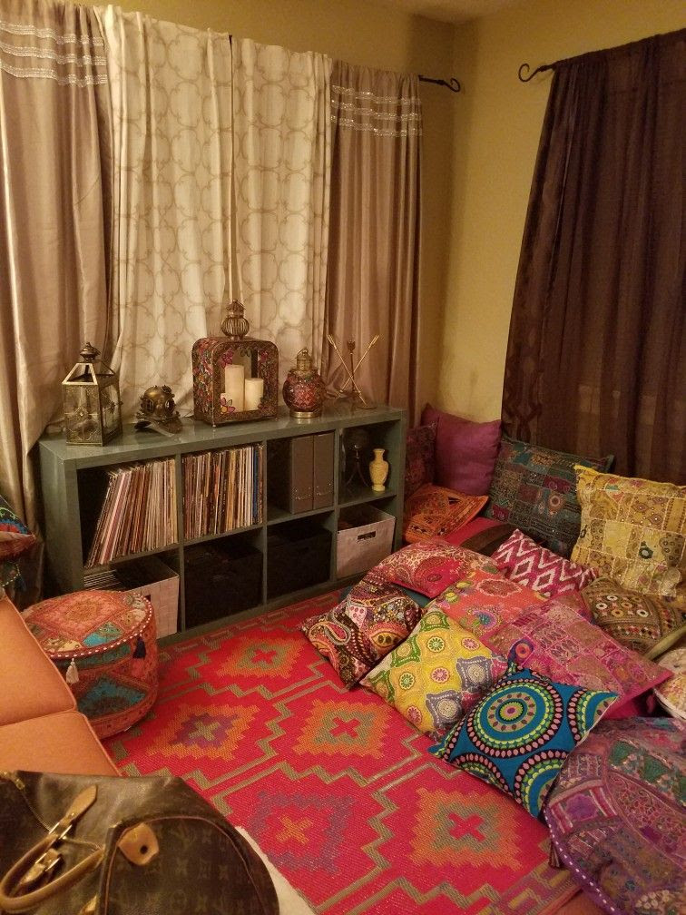 Boho living room with #ikea shelves for record storage ...