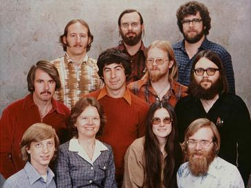 Historic Microsoft staff photo at its inception, December 7, 1978.
