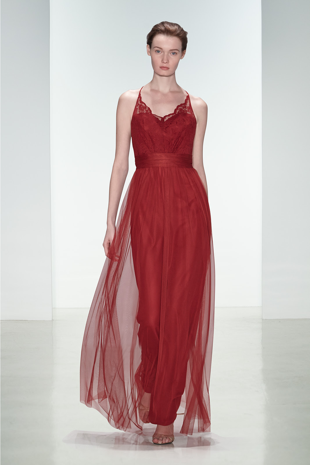 Sleeveless V Neck Lace Bodice Ruby Long Tulle Bridesmaid Dress _1