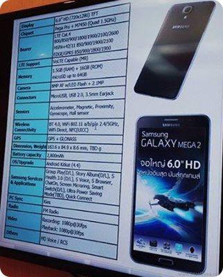 Se filtran las especificaciones del Galaxy Mega 2