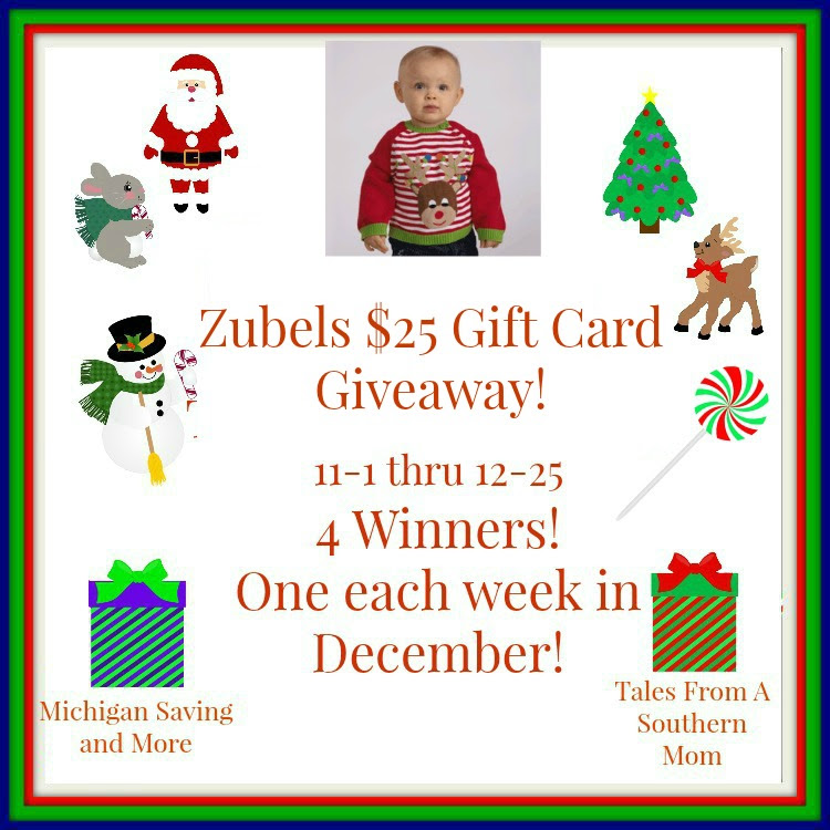 Enter the Zubels $25 Gift Card Giveaway. Ends 12/25
