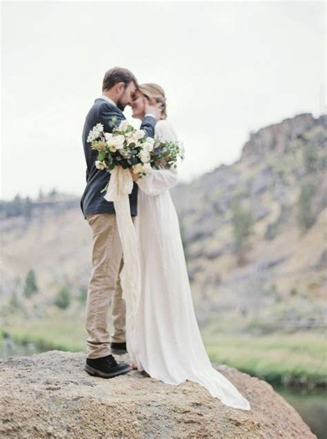 Outdoor Elopement In A Long Sleeve Gown   Wedding Sparrow