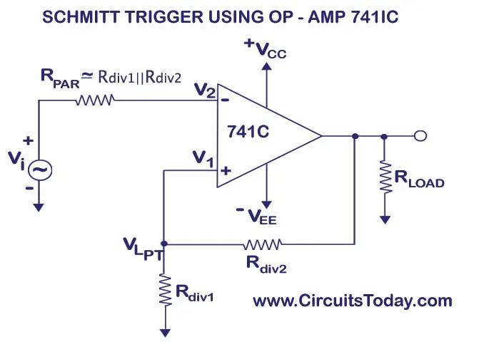 Schmitt Trigger Circuit Using Op-Amp uA741 IC