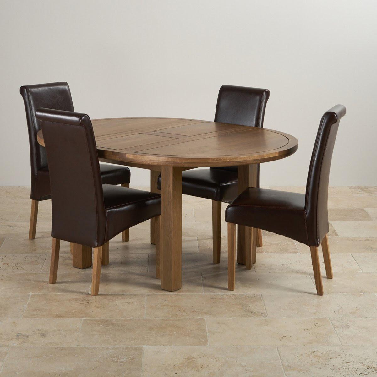 Knightsbridge Round Extending Dining Table Set: Table + 4 ...