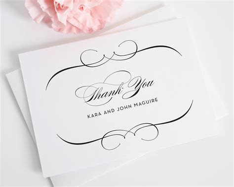 Elegant Wedding Thank You Cards in Black on White Shimmer