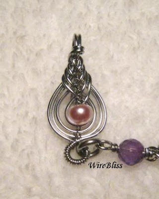 Wire wrapped Pipa Clasp with pearl