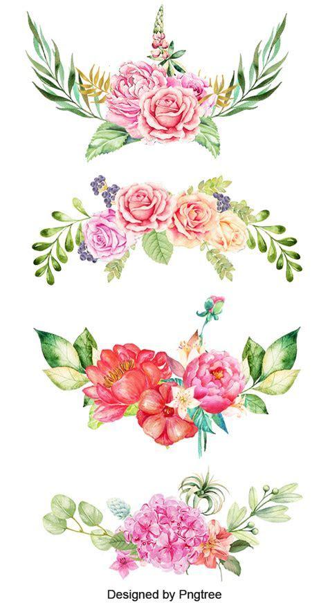 Aquarela De Flores, Fundo, Clipart, Cor PNG Imagem para