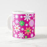 Pink Flower Power 20 Oz Large Ceramic Coffee Mug